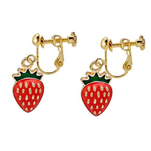 Clip on Earrings Summer Strawberry Drop Dangle Earring Red Enamel Fruit Women Gold tone no Pierced Prom