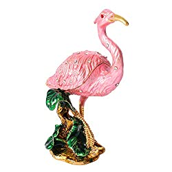Hand Painted Flamingo Trinket Box with Rich Enamel & Rhinestones