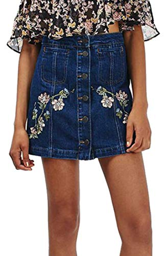 OTW Women's High Waisted A-Line Button Floral Embroidery Mini Denim Skirts Blue M