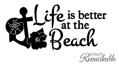 Vinyl Decal Sticker for Computer Wall Car Mac Macbook and More - Life is Better at the Beach (Wall Design Stickers Tattoo)