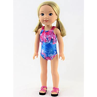 American Fashion World Tie Dye One Piece Swimsuit fits 14 inch Doll: Toys & Games