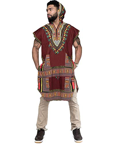 Mens African Print Dashiki Shirts Poncho Cape Hoodie Tribal African Caftan Boho Top Shirt Red L