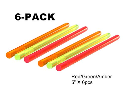 NJGIANT 3-Pack Tactical Replacement High Brightness Glow Stick Fluorescence Fiber Optic Sight Rod Green/Red/Amber for Bow and Gun Sight