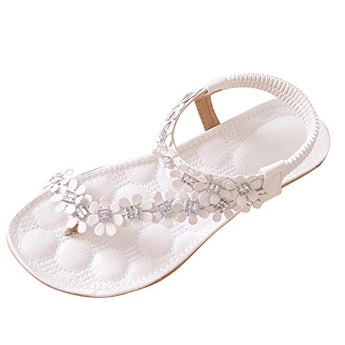 COPPEN Women Sandals Summer Bohemia Flower Beads Flip-Flop Shoes Flat White