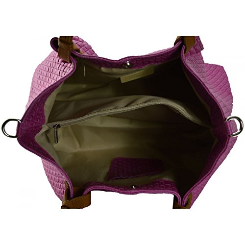 Schultertasche Aus Echtem Leder Farbe Fuchsie - Italienische Lederwaren - Damentasche
