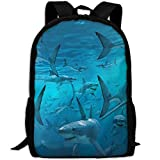 Travel Backpack Laptop Backpack Large Diaper Bag - Underwater Shark Group Sea Blue Backpack School Backpack For Women Men
