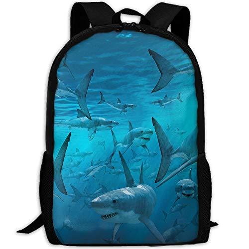 Travel Backpack Laptop Backpack Large Diaper Bag - Underwater Shark Group Sea Blue Backpack School Backpack For Women Men by SAPLA