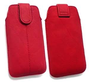 Emartbuy ® Value Pack Para Red Slide Samsung I9000 Galaxy S Cuero De La Pu Con Seguridad En Bolsa / Caja / Manga / Soporte (Tamaño 1) Con Mecanismo Pull Tab + Compatible Micro Usb Car Charger + Protector De Pantalla