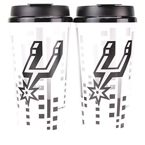 (Whirley Drink Works NBA 32oz Digital Large Travel Tumbler Cups w/Lids 2-Pack (San Antonio Spurs) )