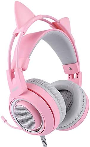 [해외]Pink Stereo Gaming HeadsetMic for Desktop Computer Laptop Phone Various Gaming Devices 3.5mm Plug Detachable Cat Ear Headphones Over Ear Headphones for Girls Women / Pink Stereo Gaming HeadsetMic for Desktop Computer Laptop Phone V...
