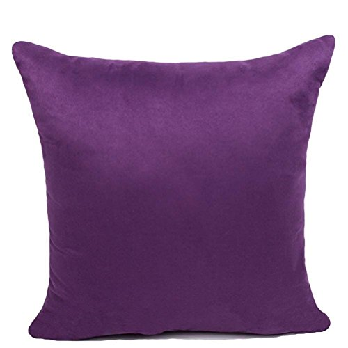 YJBear Faux Suede Solid Color Candy Decorative Cushion with Filler Rectangle Pillow Invisible Zipper Home Decor for Bench/Couch/Sofa Dark Purple 14