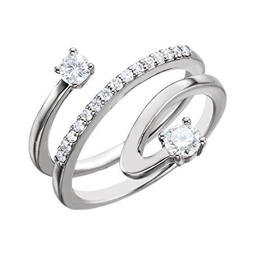 14k White Gold Polished 0.5 Dwt Diamond Freeform Ring - Size 6.5 ()
