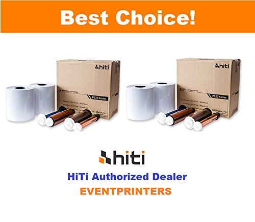 TWO BOXES OF HiTi 4x6'' media for Hiti P525L and Hiti P520L printers. Paper and ribbon kit (total 2000 prints). Comes with FREE SAMPLES of our best selling photo folders (EVENTPRINTERS brand). by Hiti and Eventprinters