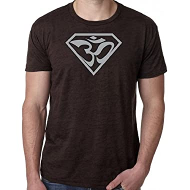 Yoga Clothing For You SUPER OM Mens Burnout Tee Shirt, XL Chocolate