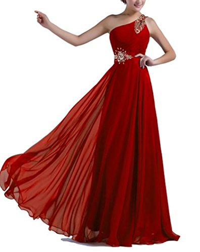 Bridesmaid Shoulder Ball Damen Kleider One lang emmani Geld Chiffon Rot xTqZ60nw4