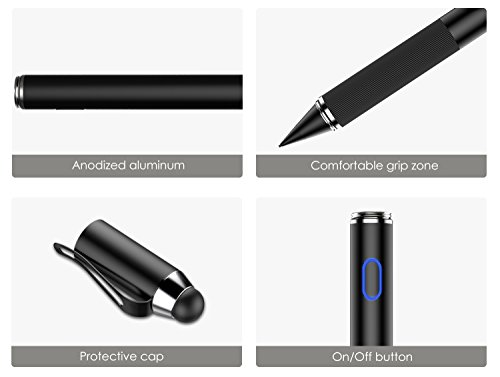MoKo Active Stylus Pen, 2-in-1 High Sensitivity and Precision Point 1.5mm Capacitive Stylus, with Soft Rubber Tip, for Touch Screen Devices Tablet/Smartphone iPhone X/ 8/8 Plus, iPad, Samsung - Black by MoKo (Image #6)