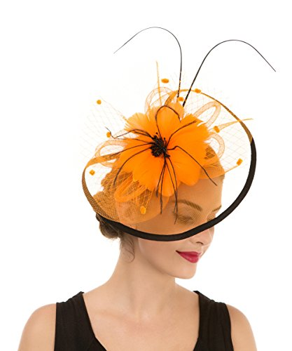 Lucky Leaf Women Girl Fascinators Hair Clip Hairpin Hat Feather Cocktail Wedding Tea Party Hat (8-Orange)