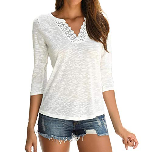 Übergröße Damen 3//4 Arm Shirt Bluse T-shirts Tunika Spitze Tops Hemd Oberteil