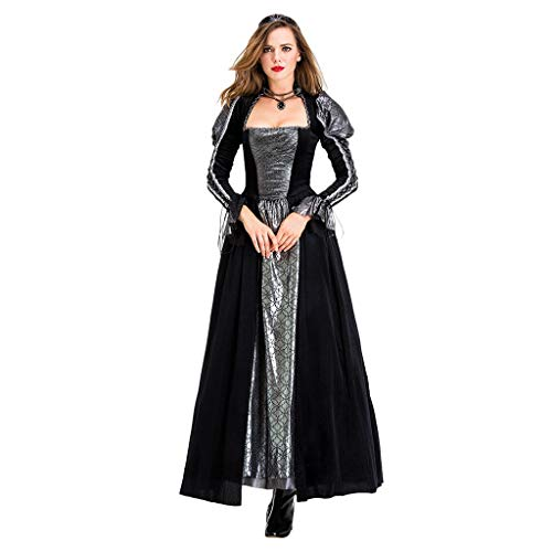 Womens Halloween Costumes Sexy Cosplay Witch Vintage Gothic Dresses Long Sleeve - Limsea Black