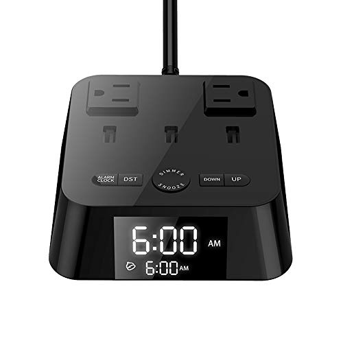 Alarm Clock Charger with 3 USB Ports and 2 Outlets,UL Listed Alarm Clock Charging Station Dock with 6ft Extension cord,Snooze,ON/OFF Switch,USB Bedside Charging Station for Hotel Bedrooms Home Dorm
