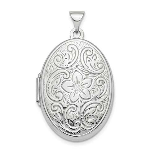 Designer Silver Charms - 925 Sterling Silver 26mm Patterned Oval Photo Pendant Charm Locket Chain Necklace That Holds Pictures Fine Jewelry For Women Gift Set