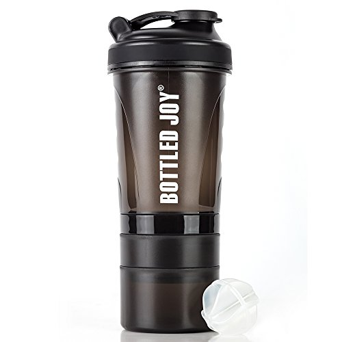Shaker Bottle with Storage for Powder,Protein Mixer Shaker Bottle,3 in 1 Shaker Cup with Twist and Lock Protein Box Storage - Flip Cap and Shaking ball