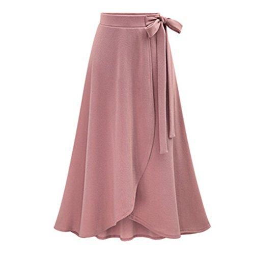 RENXINGLIN Womens Long Skirt Saia High Waist Irregular Maxi Skirt Casual Fashion Skirts Pink - Karen Shop Millen