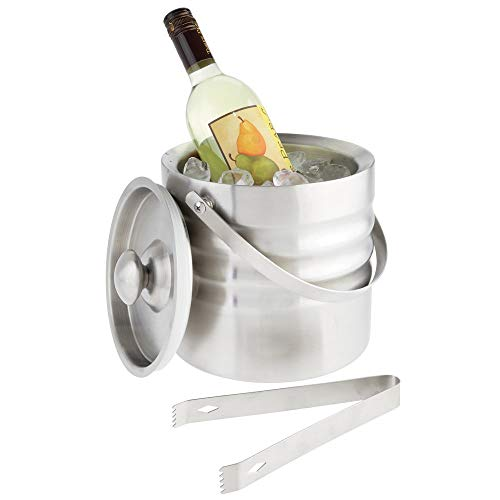 mDesign Modern Ice Bucket with Lid, Tongs and Handle - Double Wall Insulated Stainless Steel - for Entertaining, Parties, Barware - Holds Ice Cubes, Wine, Champagne - Brushed ()