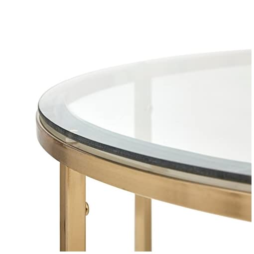 Living Room Amazon Brand – Rivet Modern Round Glass and Gold Coffee Table, 36″W, Gold Finish modern coffee tables