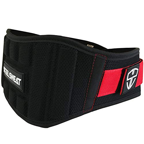 Steel Sweat Weight Lifting Belt - Nylon 6-inch Firm & Comfortable Back Support, Best for Workouts at The Gym, Weightlifting or Crossfit. Easily Adjustable Viper Redback Medium
