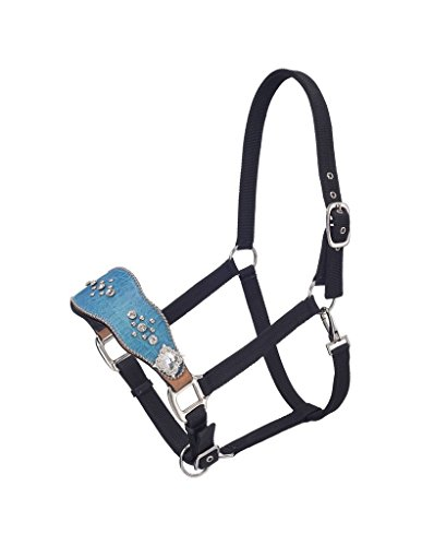 [Tough 1 Trinity Belt Buckle Bling Nylon Bronc Halter, Turquoise] (Crystal Concho Belt)