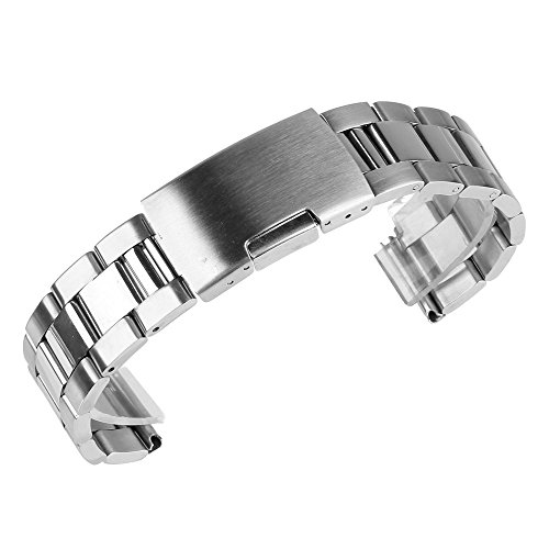 Buckle Bracelet Link Watch (Beauty7 30mm Brushed & Polished Finish Stainless Steel Link Wrist Watch Band Bracelet Strap Replacement Deployment Buckle)