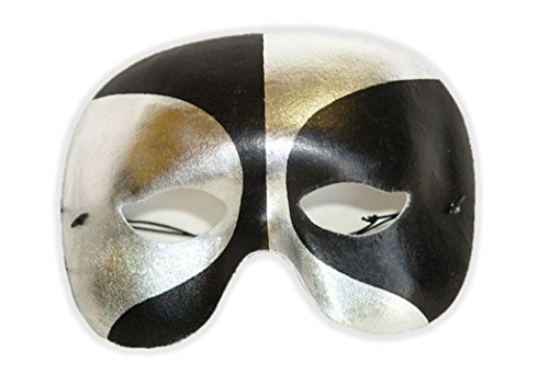 Silver Black Half Eye Mask Unusual Abstract Halloween Costume Accessory -