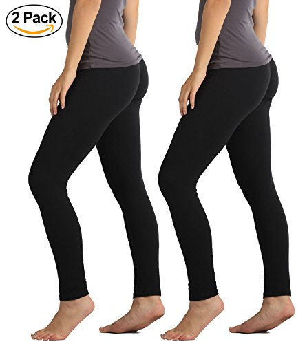 Conceited Premium Ultra Soft Leggings High Waist - Regular and Plus Size - 15 Colors Plus (12-24), 2-Pack Black (Everyday Leggings)