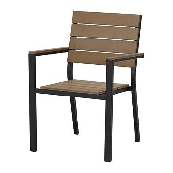 Ikea Gartenstuhl ikea falster stuhl mit armlehnen schwarz braun amazon de küche