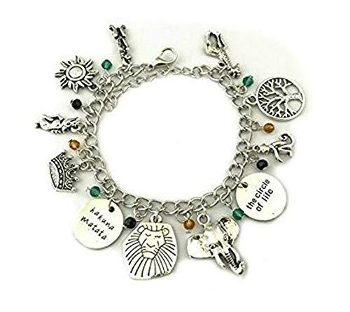 Disney's The Lion King Charm Bracelet Movie Series Jewelry Multi Charms - Wristlet - Outlander Gear Movie - Disney Logo Disney Charm