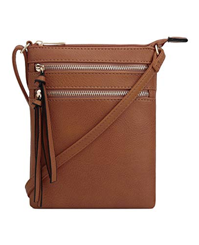 DELUXITY Essential Casual Functional Multi Pocket Double Zipper Crossbody Purse Bag for Women ()