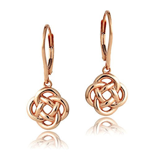 Rose Gold Flashed Sterling Silver Love Knot Flower Dangle Leverback Earrings