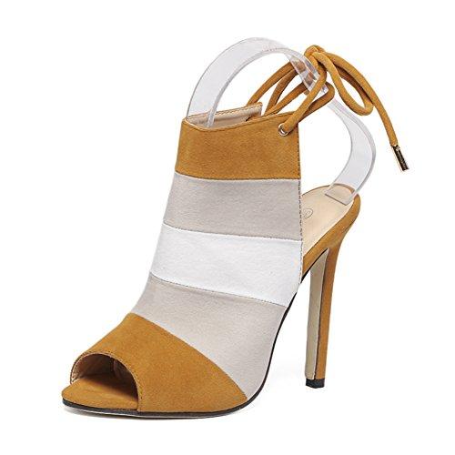 fereshte Women's Suede Rainbow Stiletto High Heels Sexy Peep-Toe Pumps Back Lace Sandals Brown