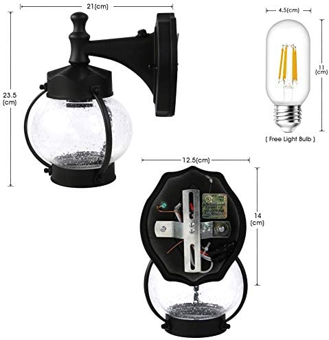 Holly 9129LS Dask to Dawn Sensor Outdoor Wall Light LED Sconce Lantern Lamp Fixture with Wall Mount Kit For Garden, Backyard