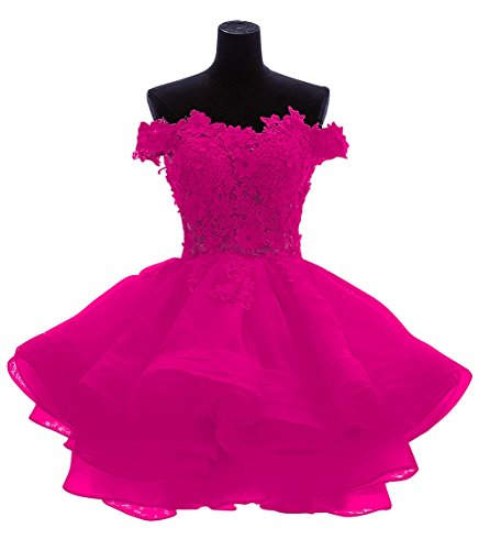 Bess Lace Bridal Organza Fuchsia Shoulder The Short Off Dresses Homecoming Prom Women's dqrawAXxq