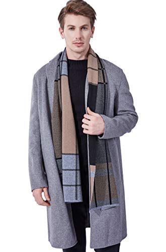 KUMONE Men Winter Cashmere Scarf Long Warm Black Gray Camel Scarves from KUMONE
