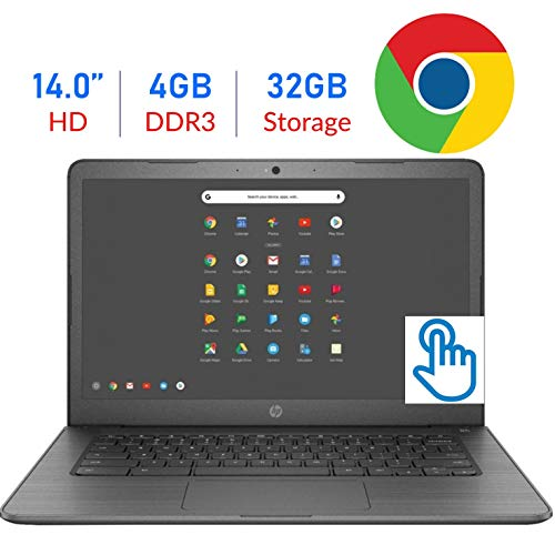 (2019 Newest Flagship HP 14-inch HD SVA Touchscreen Chromebook Laptop, Intel Celeron N3350 Up to 2.4GHz 4GB DDR4 32GB eMMC 802.11ac WiFi Bluetooth USB 3.1 Type-C Webcam Chrome OS Add Extra Storage)