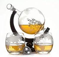 Casavetro - Botella de whisky de 900 ml con cristal soplado y 2 vasos de 350 ml cada uno