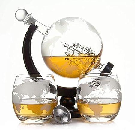 Casavetro - Botella de whisky de 900 ml con cristal soplado y 2 vasos de 350 ml cada uno, decantador, botella de 0,9 litros, botella de cristal, licor, licor, vino, decantador (juego de vasos globos)