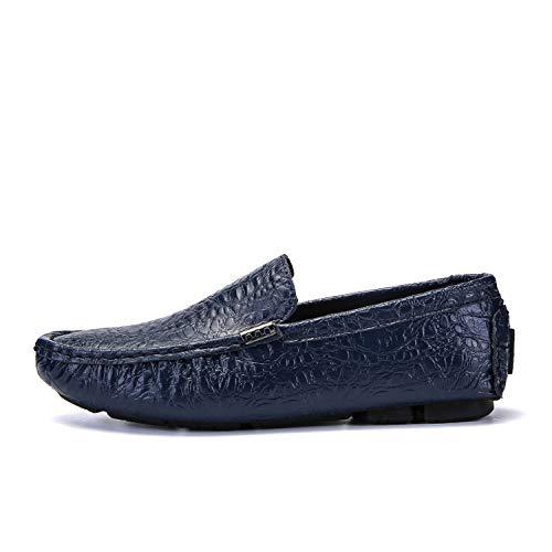 Men's Casual Luxury 2019 Crocodile Leather Italian Loafers Men Moccasins Slip on Boat Plus Size,Blue,12.5 ()