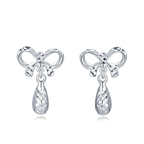 MaBelle 14K White Gold Diamond-Cut Ribbon and Drop Stud Earrings (White Earrings Gold Ribbon)