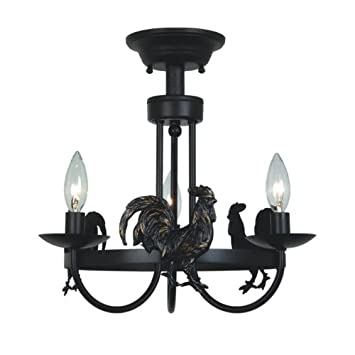 Colonial   3 Light Colonial Rooster Semi Flush Mount Ceiling Candle Lighting  Fixture   Hand Forged