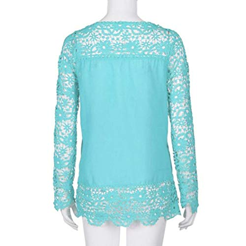 iQKA Women Plus Size Hollow Out Lace Splice Long Sleeve Shirt Casual Blouse Loose Top(Light Blue,Medium) by iQKA (Image #3)