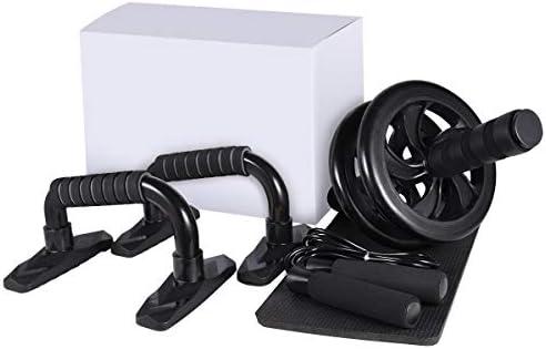LYCAON Juego de rodillos de rueda Ab 4 en 1 incluye rodillo de rueda Ab, barra de empuje, cuerda de saltar y rodillera, kit de rueda de rodillo para perder peso, fitness, ejercicio músculos abdominales, ejercicio en casa, gimnasio 3